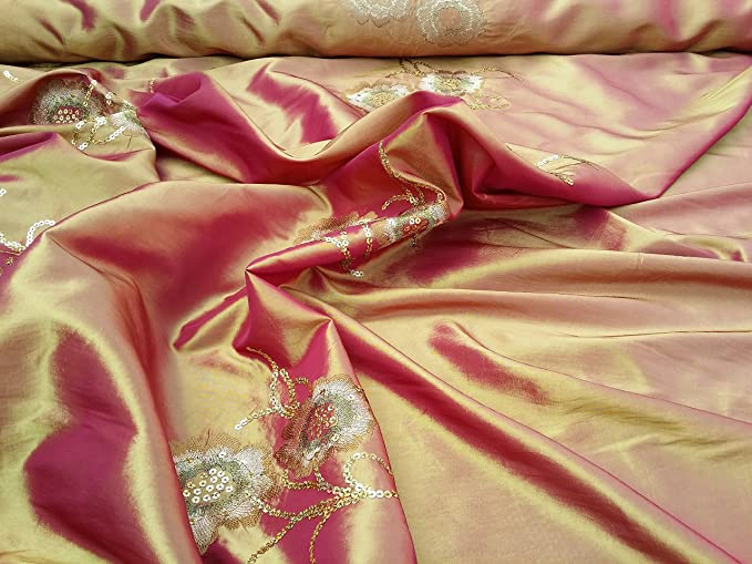 Fabrics Online Uk Embroidered Asian Indian Sari Shalwar Dress Sequins Silk Taffeta Curtain Fabric