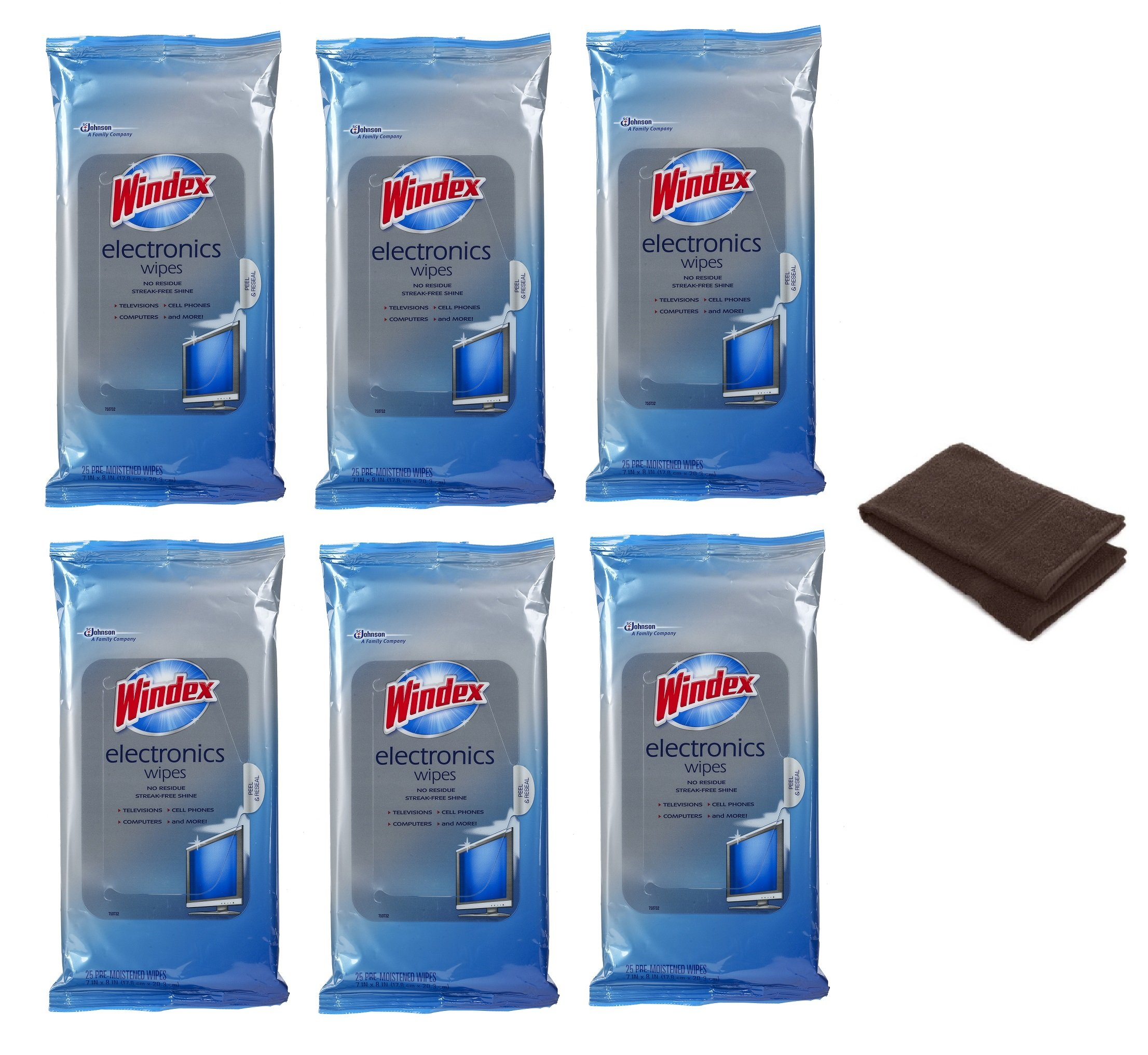 Windex Electronics Wipes 25 count (Pack of 6) Made in USA Fast Shipping + FREE Hand Towel