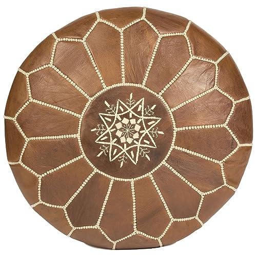 Moroccan Buzz 18-Pound Premium Stuffed Leather Pouf Ottoman, Natural Brown, Tan