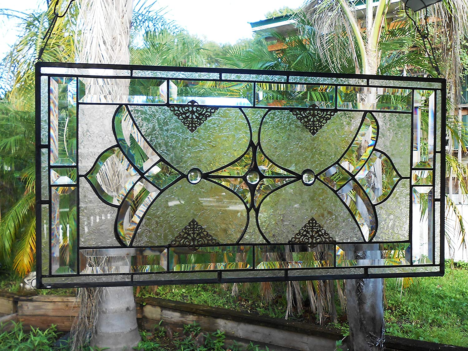 Stained Glass Panel, Traditional Vintage Look Window Transom, Beveled Glass Valance, OOAK Crystal Window Treatment, Stained Glass Window