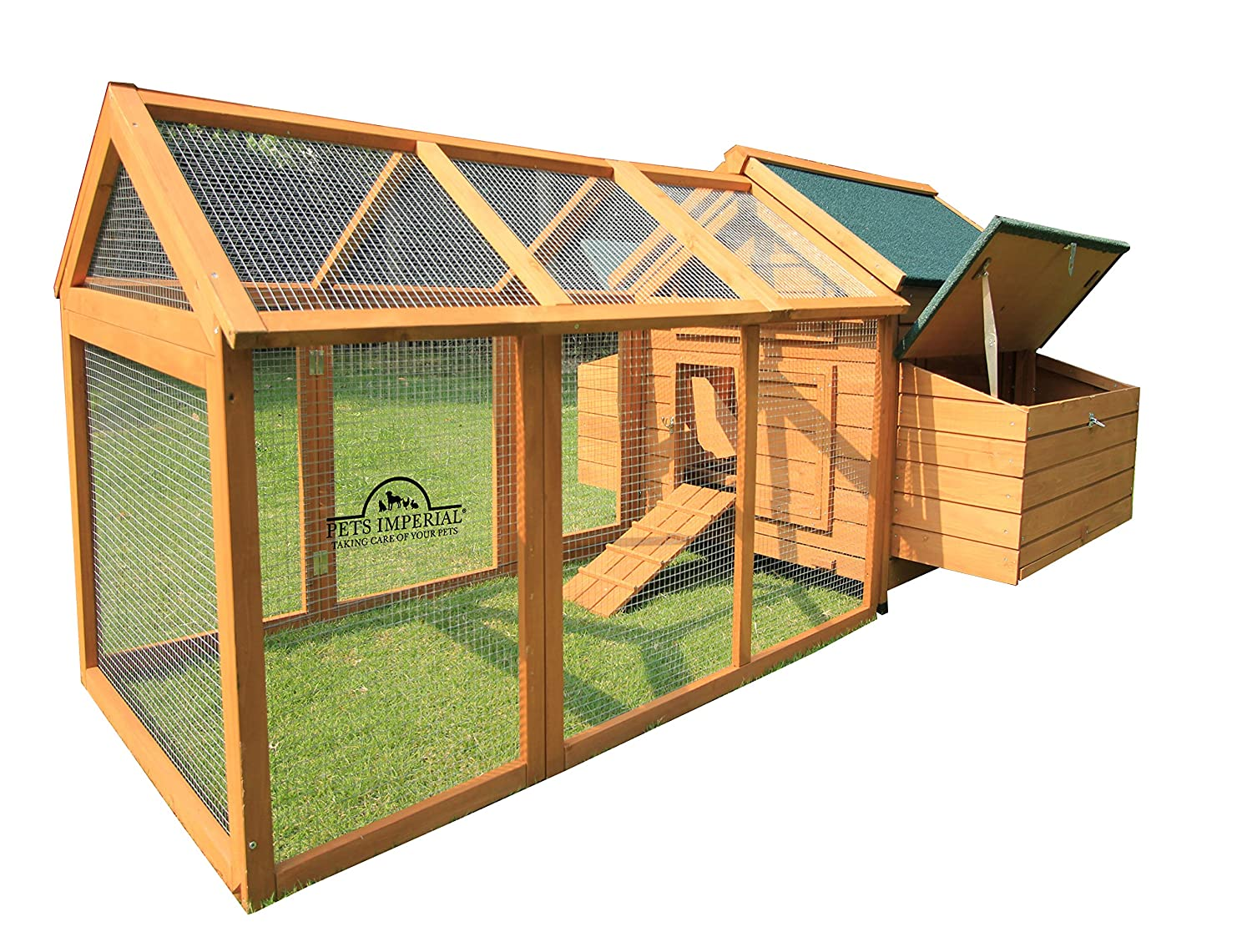 Pets Imperial® Marlborough Large Chicken Coop With Run Suitable For up 8  Birds With Double Nest Box - Easy Clean Leaning Tray