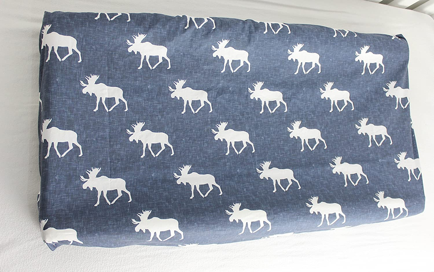 Navy Linen Moose Change Pad Cover