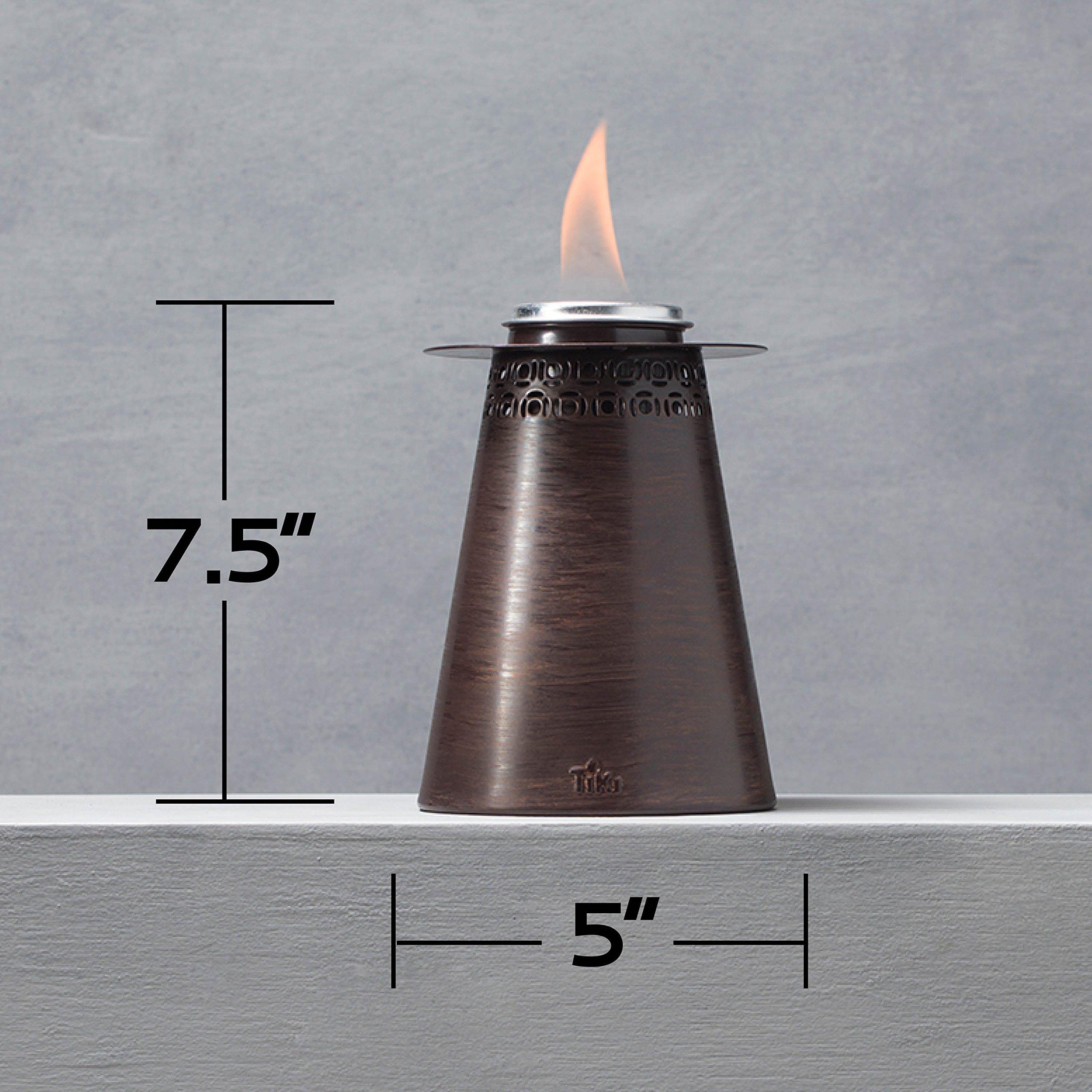 TIKI Brand 7.5-Inch Clean Burn Fire Pillar Metal Table Torch, Copper 3-Pack