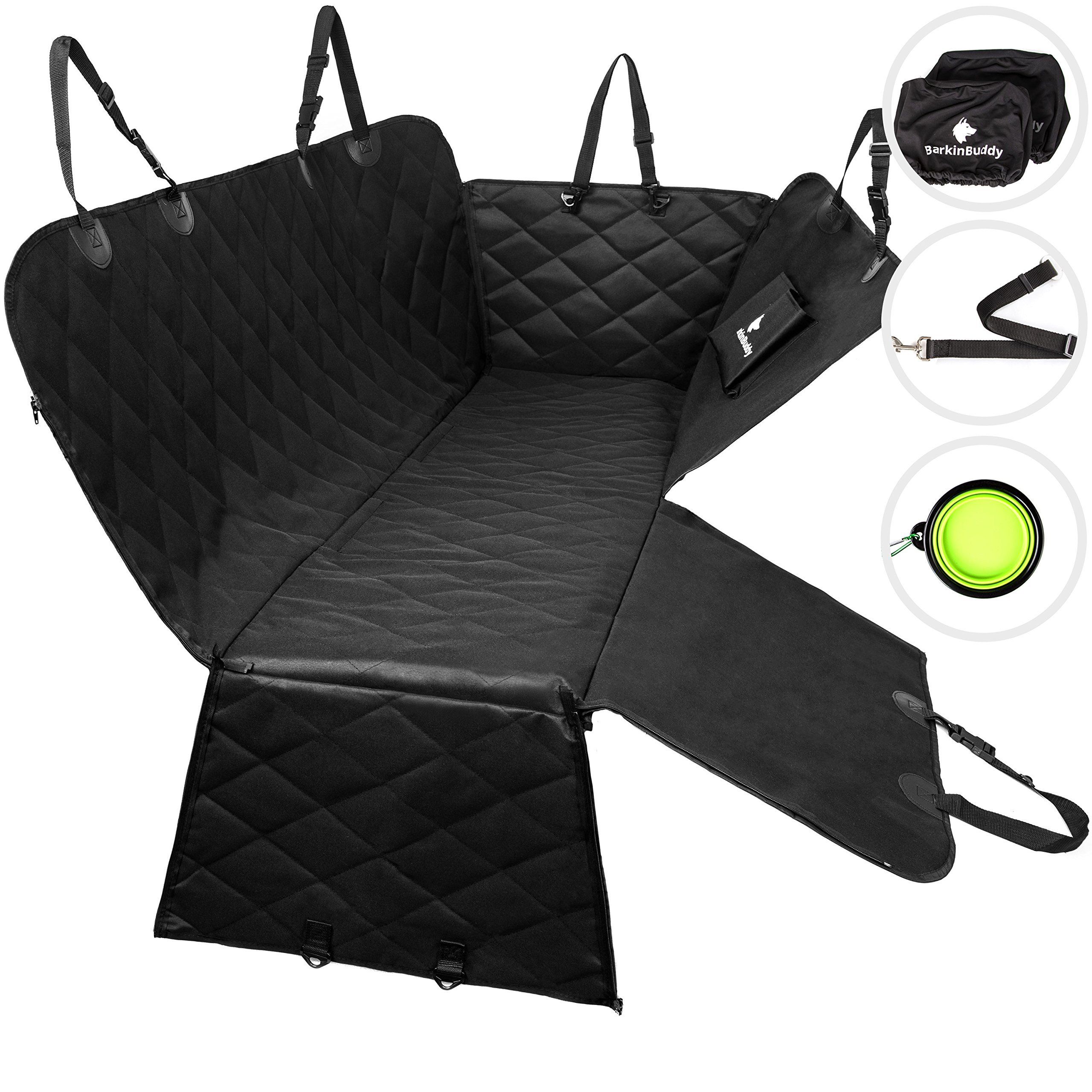 Dog Seat Cover for Back Seat - Backseat Dog Cover with Full-Size Door Protector from Dog Scratching - Dog Car Hammock for Car, SUV, Truck with 2 Headrest Covers, Collapsible Bowl, Dog Seat Belt