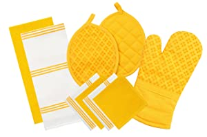 Sticky Toffee Silicone Printed Oven Mitt & Pot Holder, Cotton Terry Kitchen Dish Towel & Dishcloth, Yellow, 9 Piece Set