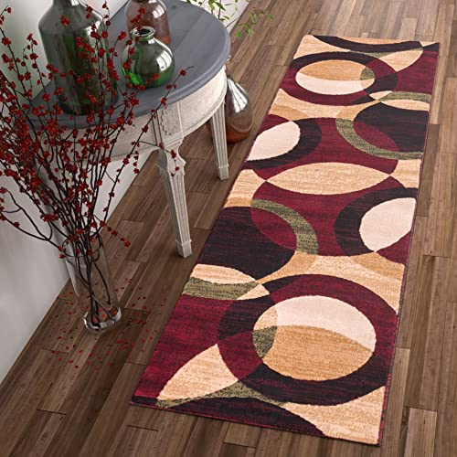 Well Woven Casual Modern Styling Shapes and Circles Runner Rug 2×7 2 x 7 3 Multi Color Red Black Beige Thick and Soft Pile Easy Care Pile Suitable for high Traffic Areas