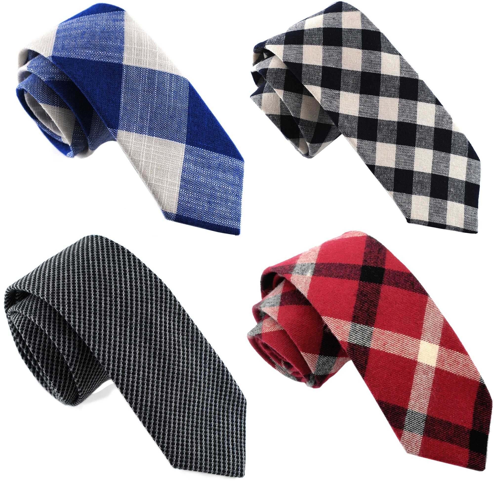 Casual Skinny Neckties for Men Cotton Plaid/Floral Slim Tie TG-003