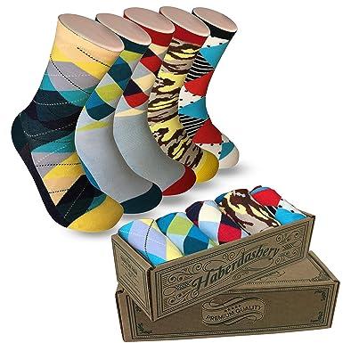 Modern Motif Men's Power Socks, 5 Pairs Per Sock Gift Box, Funky Men's Crew