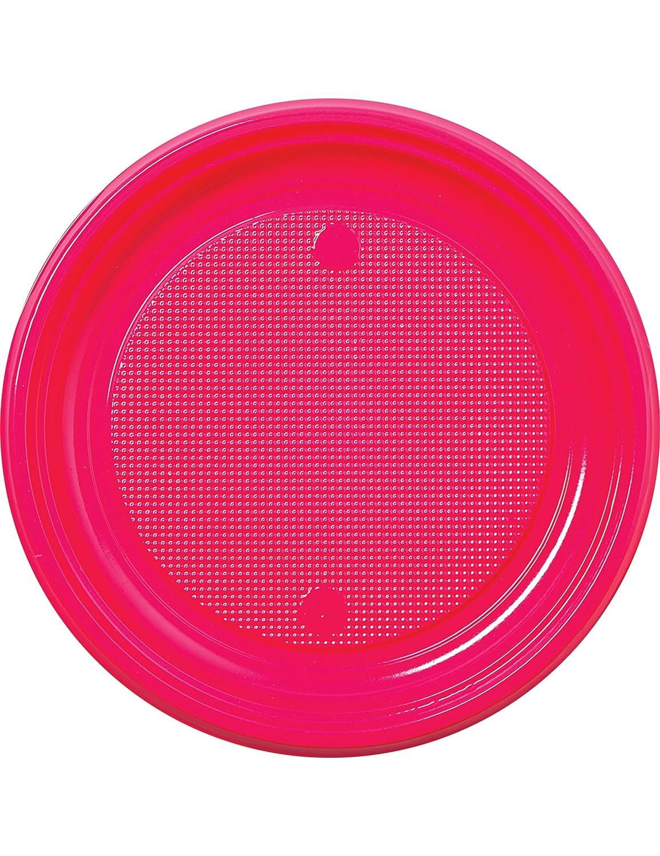 COOLMP - Juego de 12 Platos de plástico Fucsia 22 cm - Talla ...