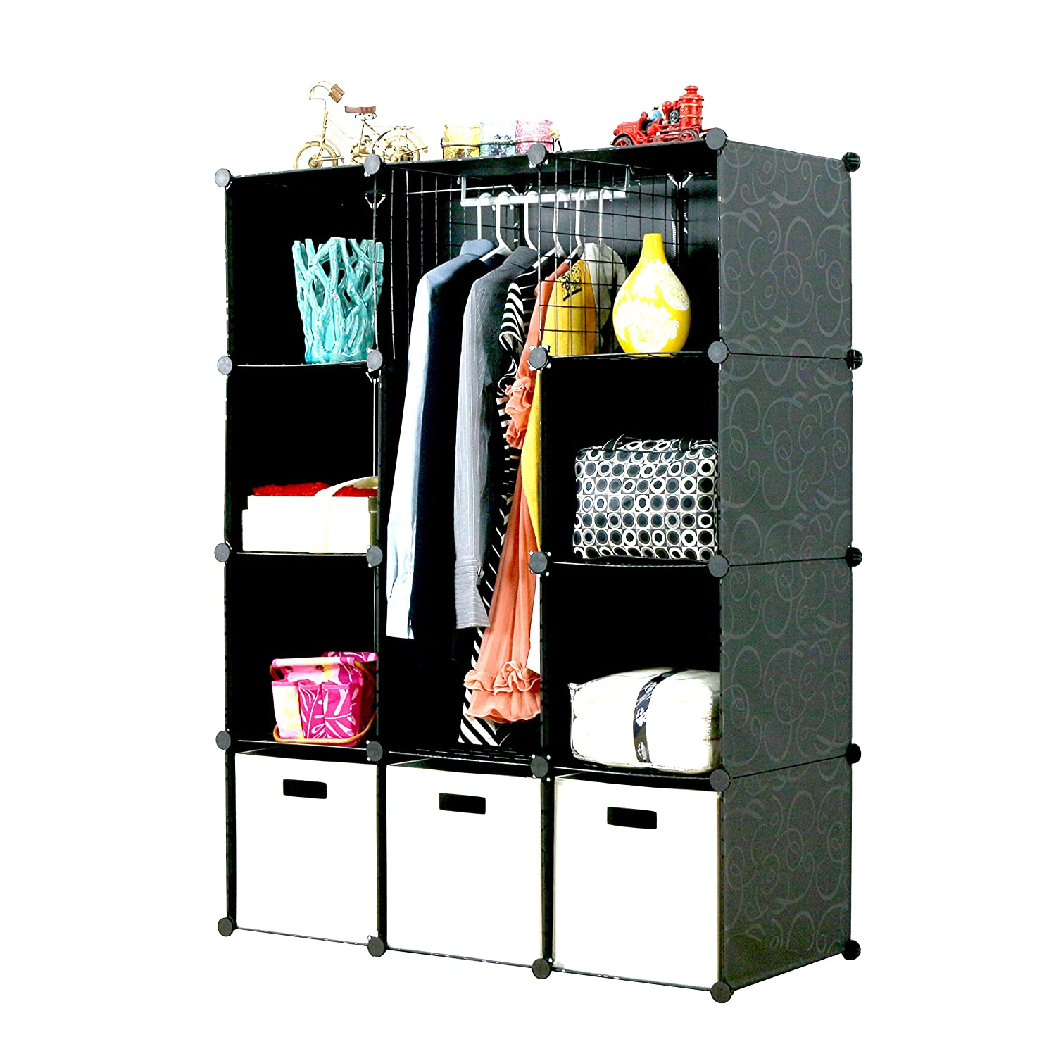 UNICOO - Multi Use DIY 12 Cube Organizer, Bookcase, Storage Cabinet, Wardrobe Closet (Deeper, Blue) UBOXBW3535-12