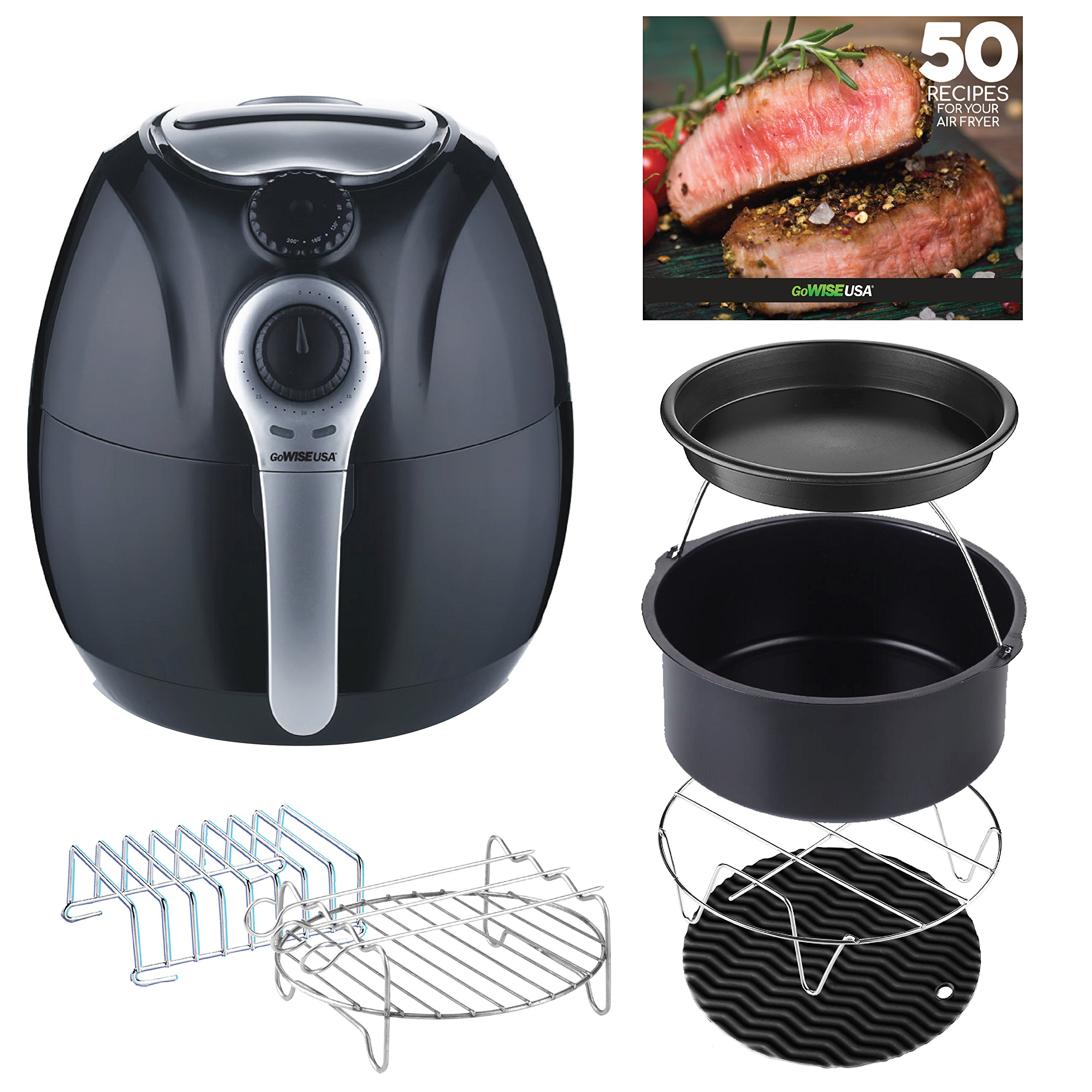 GoWISE USA 3.7-Quart 7-in-1 Air Fryer + 50 Recipes for your Air Fryer (Black+Accessories (Dial))