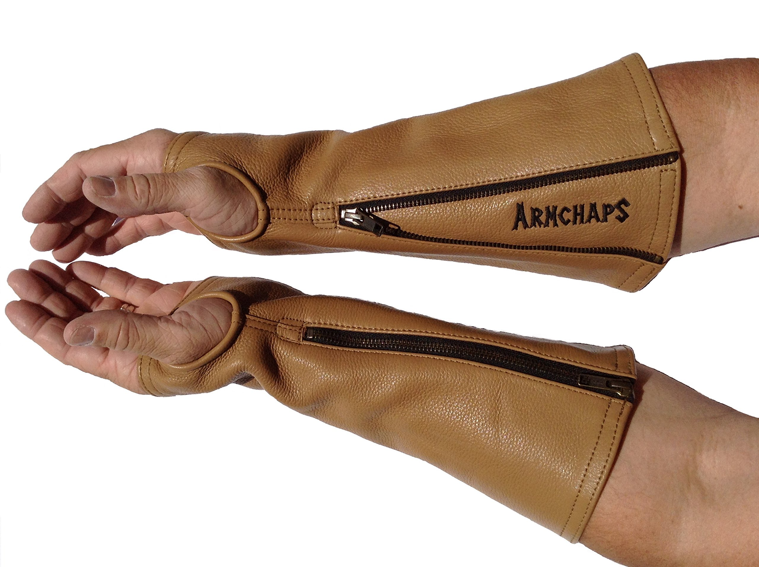 Arm Chaps Leather Protective Arm Guard Sleeves to Prevent Cuts, Scratches, Bruising & Protect Thin Skin. For Male & Female all ages. Brown (1 Pair/Large). Left & Right form-fitting. by Arm Chaps (Image #3)