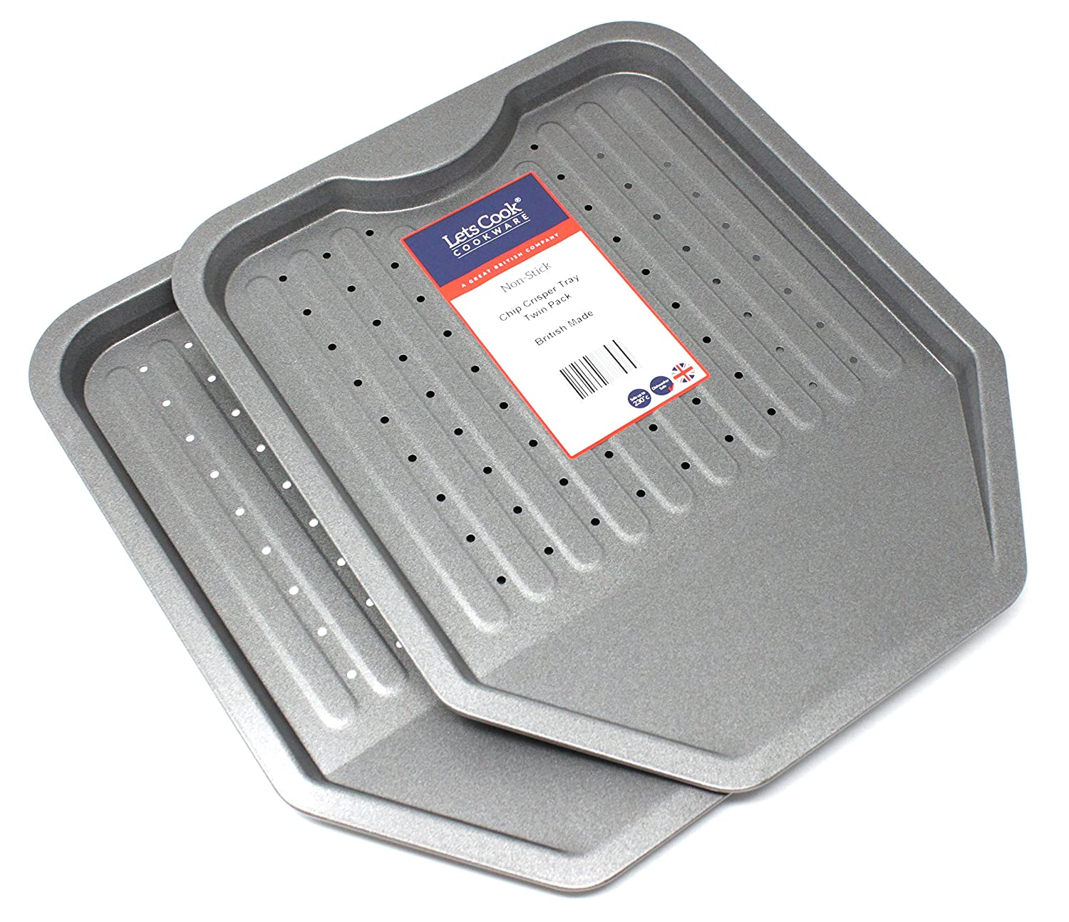 Chip Crisping Oven Trays, Twin Pack, British Made with Teflon Select Non Stick by Lets Cook Cookware