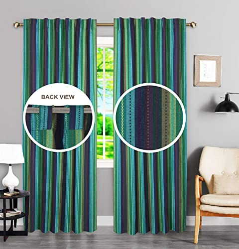 Check Tab Top Curtains, Farmhouse Cotton Curtains, Curtain 2 Panel Set, Salsa Teal Multi Cotton 50×108 inch, Reverse Window Panels, Curtain Drapes Panels, Bedroom Curtains, Set of 2