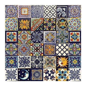 Piastrelle 10x10 Colorate.Horacio Piastrelle Messicane Patchwork 30 Piezzi 10x10