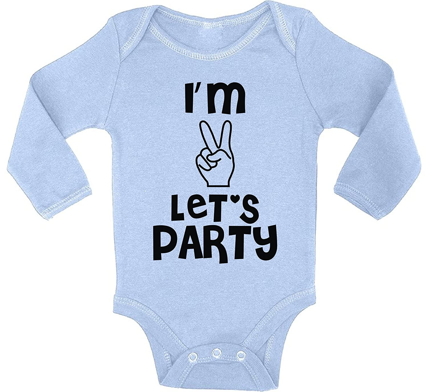Awkward Styles Baby Im Two Lets Party Boy Girl Long Sleeve Bodysuits Tops 2nd Birthday One Piece Bodysuit