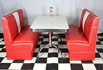 Swell Just Americanacom American Diner Furniture 50S Style Retro White Table Red Nashville Booth Set Home Interior And Landscaping Mentranervesignezvosmurscom