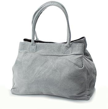 52a2b5b643135 Echt Leder Damentasche Shopper Wildleder Ledertasche Schultertasche grau