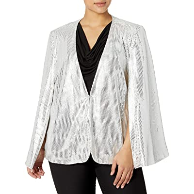 Tahari ASL Women's Metallic Novelty Cape: Clothing