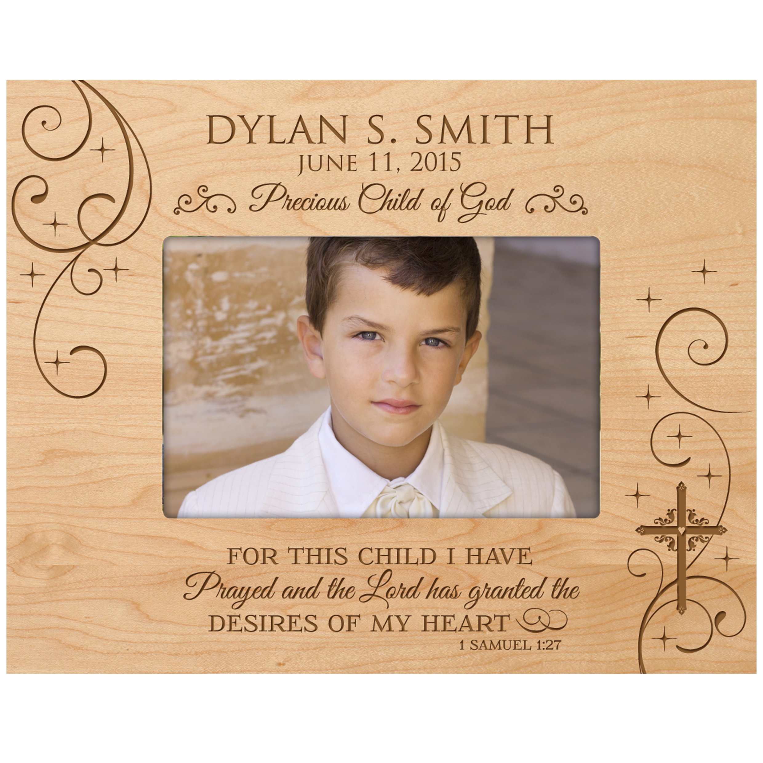 Personalized Baptism photo frame Gift Custom Engraved Precious Child of God Christening picture frame holds For this Child I have Prayed and the Lord has granted 1 Samuel 1:27 (5 x 7, Maple)