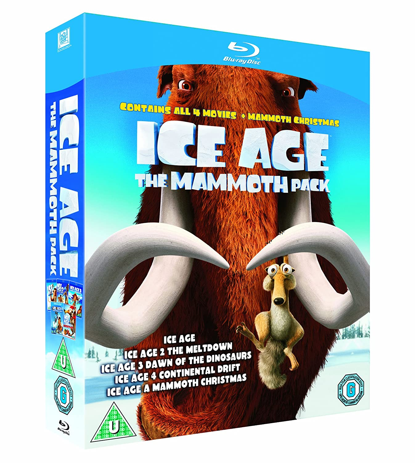 Ice Age 1-4 plus Mammoth Christmas: The Mammoth Collection Blu-ray ...