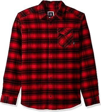 adidas Originals Hombre BR7936 Manga Larga Camisa de Botones - Rojo - Small: Amazon.es: Ropa y accesorios