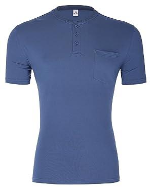 Men's Cotton Soft Pocket T-Shirt Crew Neck Glaucous (XL) PJ007-2