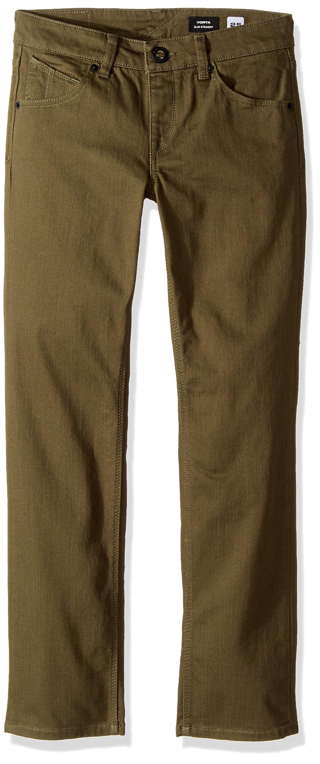 Volcom Big Boys' Vorta 5 Pocket Slub Pant, Military, 29