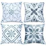 Set of 4 Pillow Covers Mediterranean Morocco Vintage Floral Modern Geometric Boho Decorative Throw Pillow Cases Pillow Covers