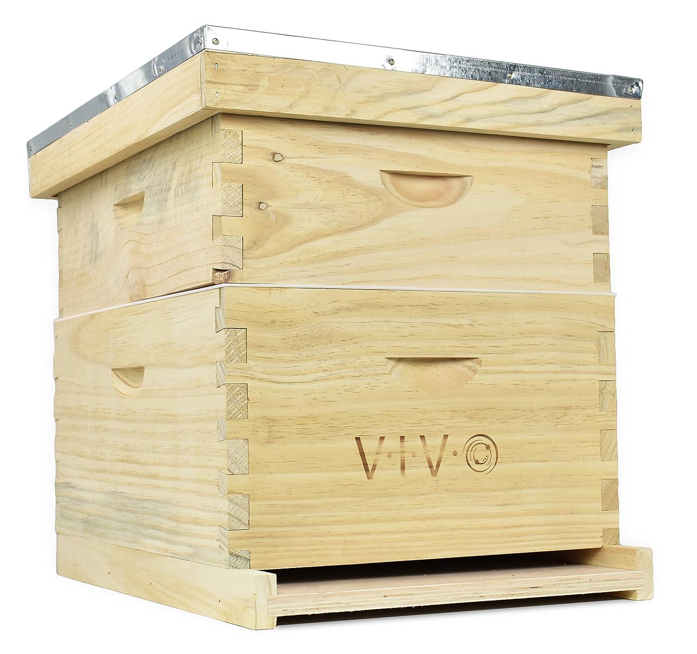 VIVO Complete Beekeeping 20 Frame Beehive Box Kit (10 Medium 10 Deep) Langstroth Bee Hive from (BEE-HV01)