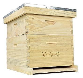 Complete Apicultura 20 marco colmena Kit de caja (tamaño mediano, 10 10 de profundidad) Langstroth Bee Hive de Vivo (bee-hv01): Amazon.es: Jardín
