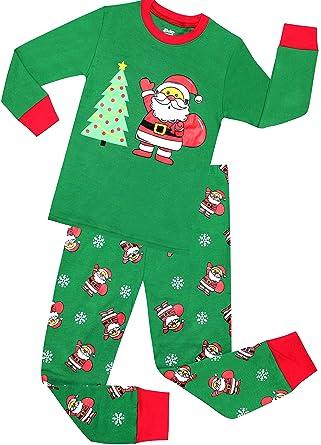 sheliy boys santa christmas pajamas girls cotton clothes kids pjs toddler sleepwear pants set size 2