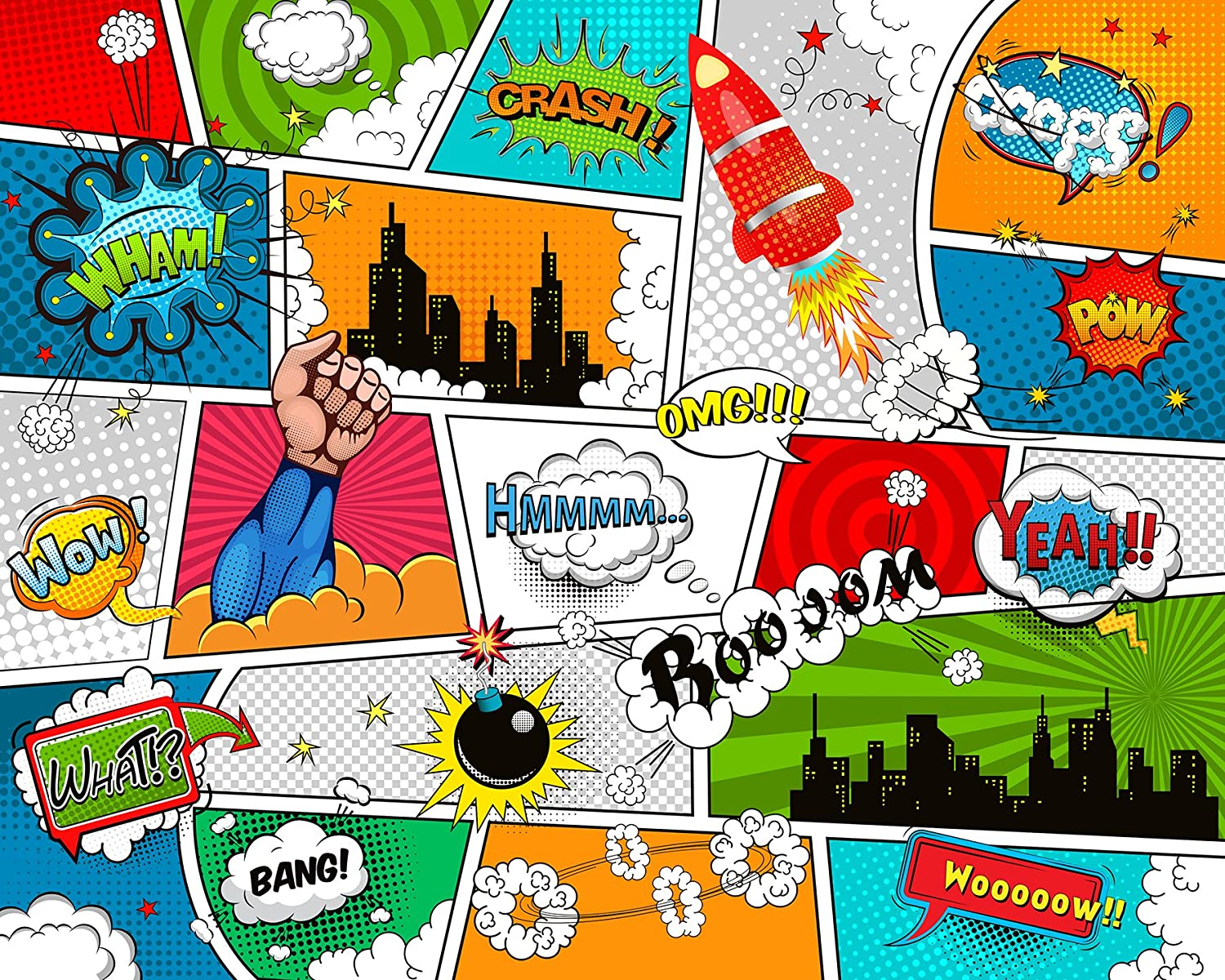 Wall Rogues WR50589 Comic Wall Mural Red