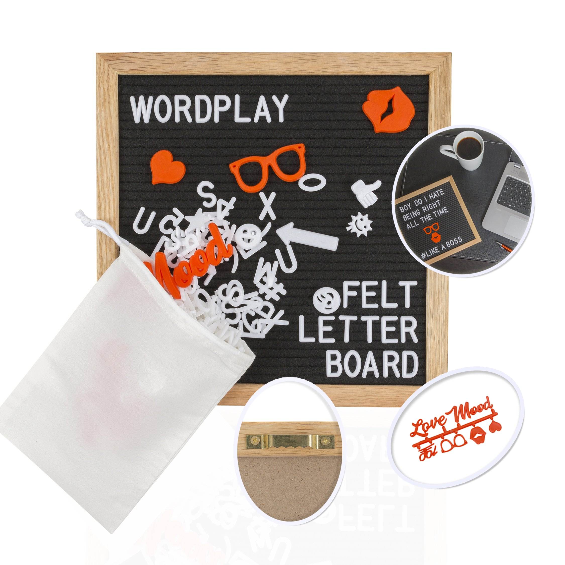 Changeable Felt Letter Board, 10x10 inch w/Emoji Stickers - Black Message Board on Rustic Oak Frame w/White Alphabet & Number Sets on Small Framed Customizable Letterboard Sign by Wordplay Creations