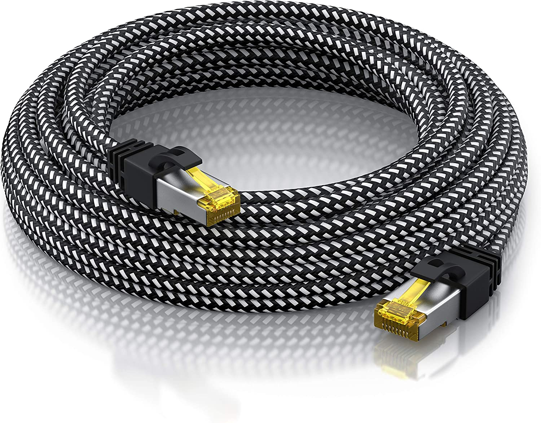 S FTP PIMF con Spina RJ 45 Primewire 0,25m Cavo di Rete Cat 7 in Tessuto Intrecciato- 10Gbits 25 cm Switch Router Modem Access Point