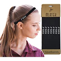 Elastic Sports Headbands - 7 Pack Thin Skinny Bands for Women and Men - Mini Head Bands with Non Slip Silicone Grip…