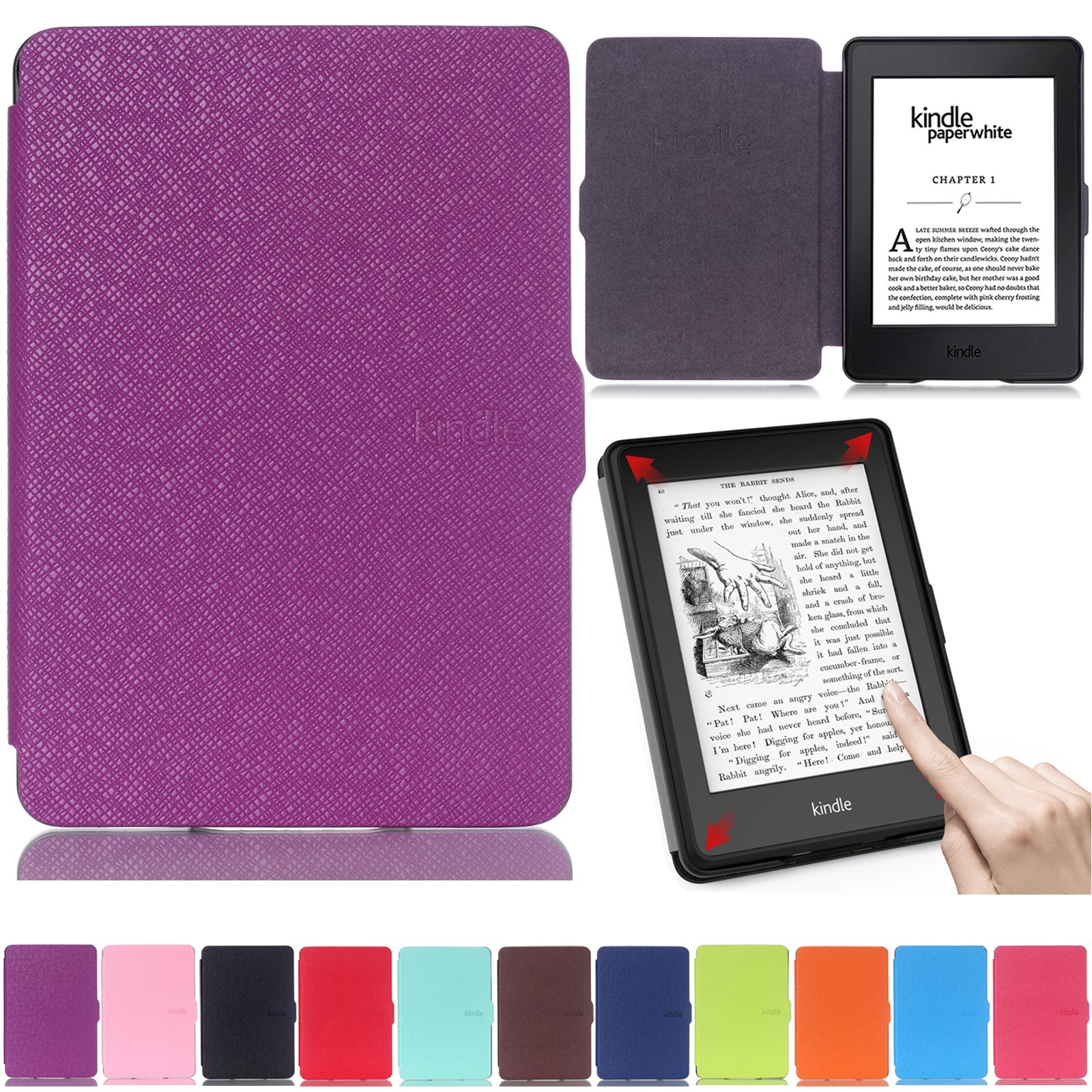 Artyond Kindle Paperwhite Case,The Thinnest and Lightest PU Leather Case with Auto Wake/Sleep Feature Smart Cover for Amazon Kindle Paperwhite (Fits All 2012, 2013, 2015 and 2016 Versions) (Purple)