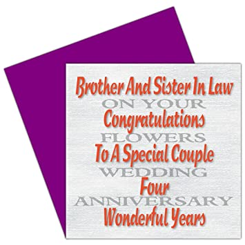 Brother Sister In Law 4th Wedding Anniversary Card Flowers