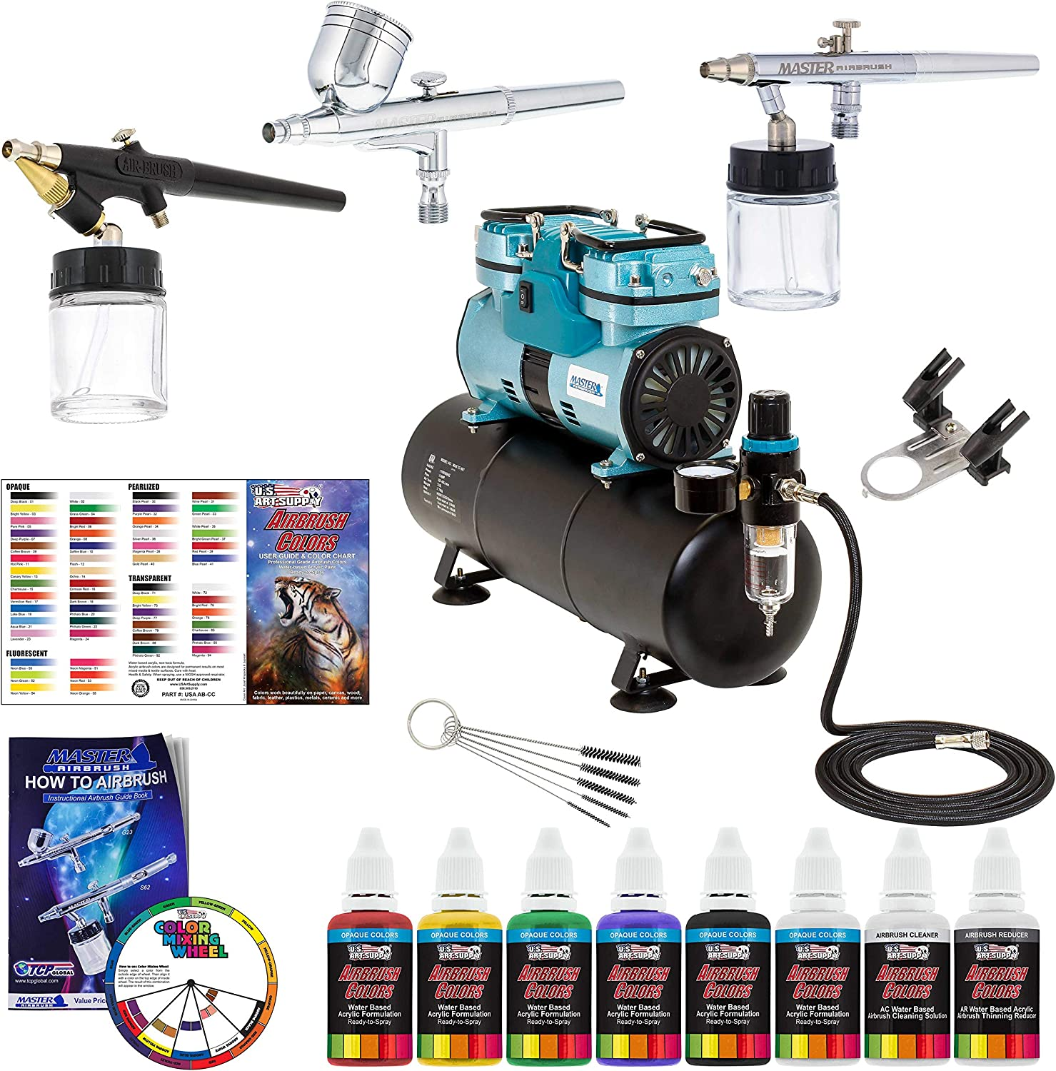 Powerful Master Airbrush Airbrushing System with 3 Airbrushes, 6 U.S. Art Supply Primary Colors Acrylic Paint Set - Cool Running 1/4 hp Twin Cylinder Piston Air Compressor with Air Storage Tank