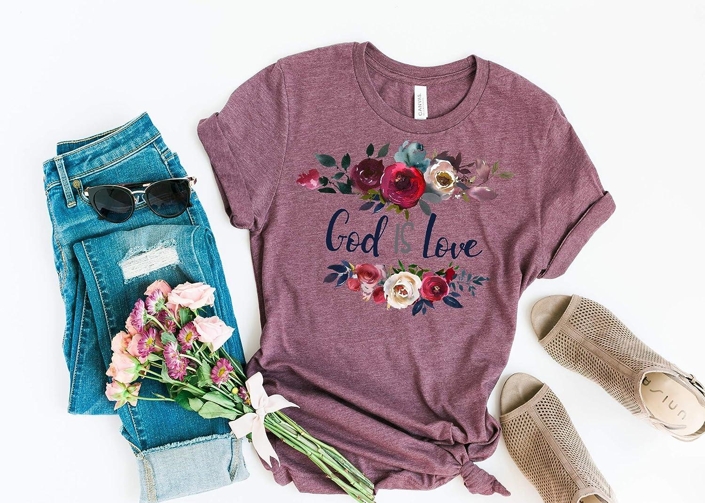 God Is Love, Ladies T Shirt, BoHo T Shirt, Floral, BoHo, Christian Faith, Faith Tee, Women's Tee, Spiritual T Shirt Women's Tee