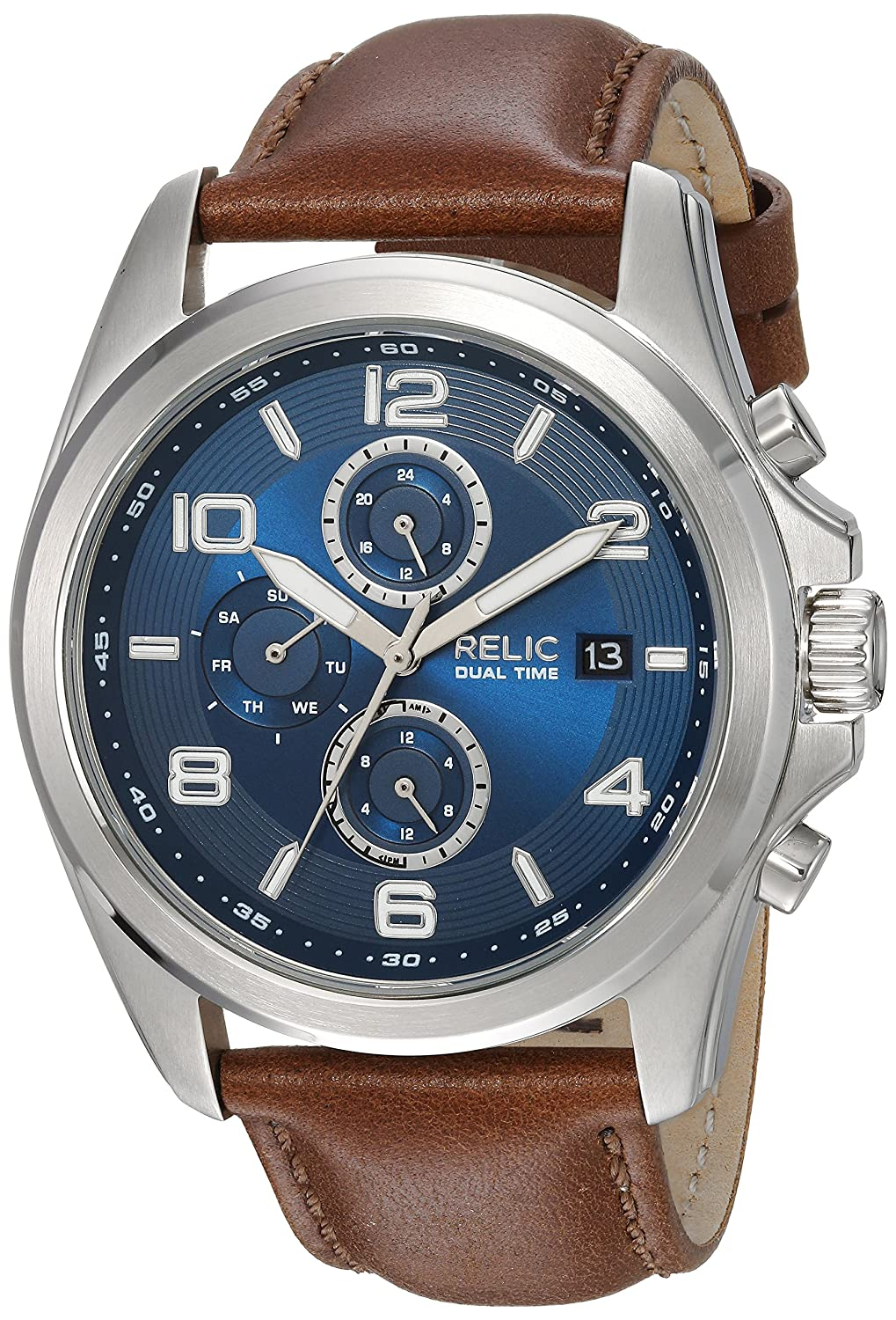 Relic by Fossil Men's Daley Quartz Stainless Steel and Leather Casual Watch