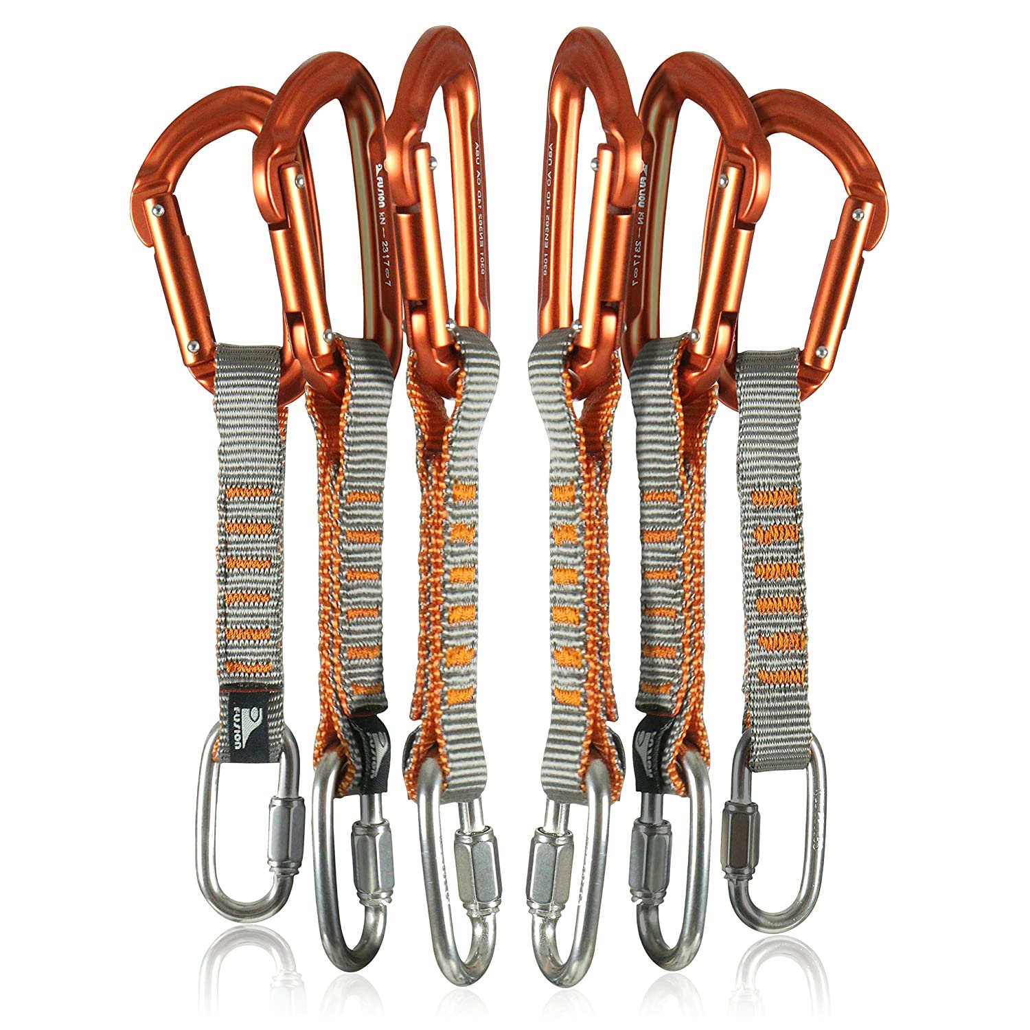 Fusion Climb 6-Pack 11cm Quickdraw Set with 1/4 Stainless Steel Quick Link/Contigua Orange Straight Gate Carabiner QDS11-2502-SS-SIL-9301-ST-ORG