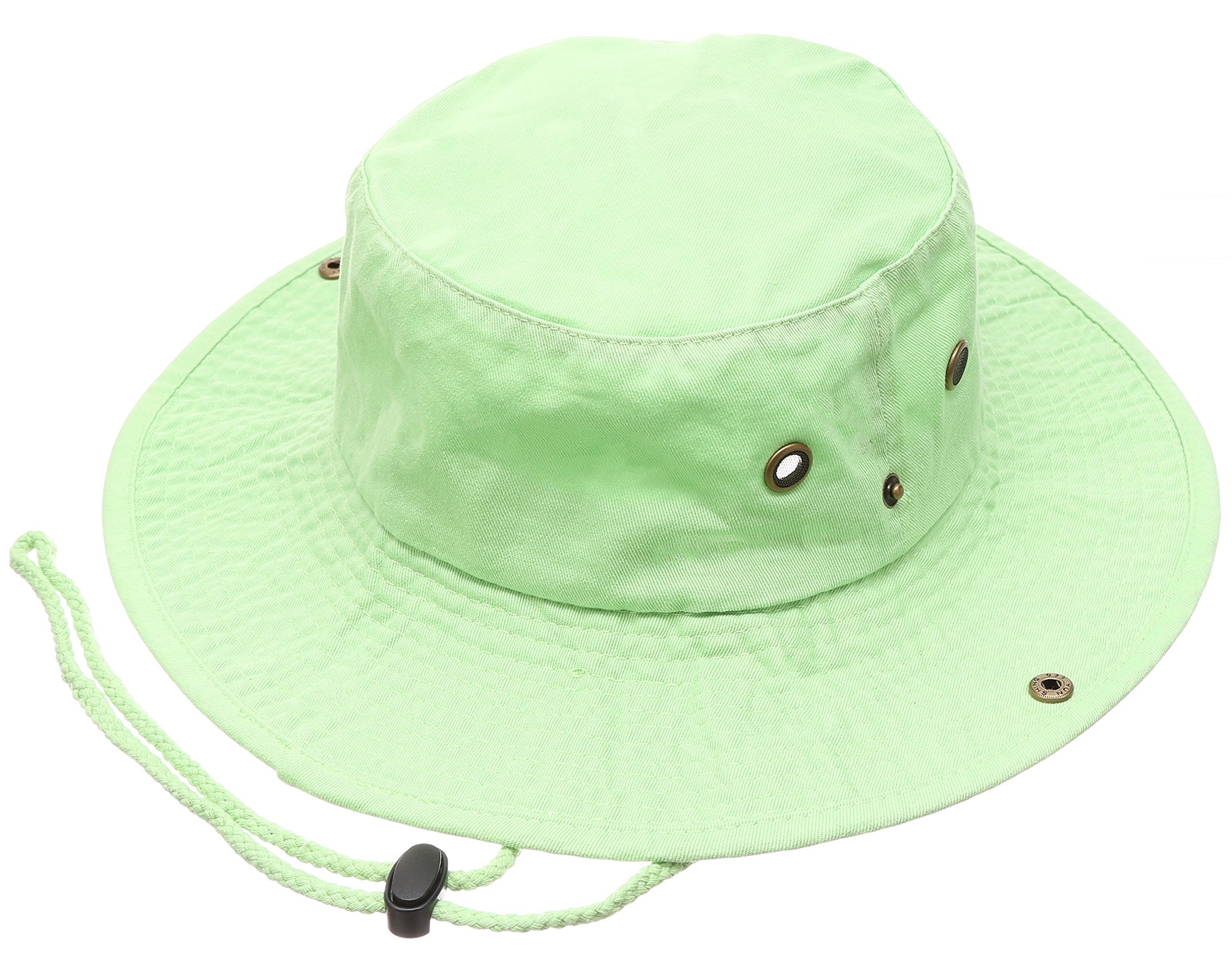 Summer Outdoor Boonie Hunting Fishing Safari Bucket Sun Hat with Adjustable Strap (Lime Green,LXL)
