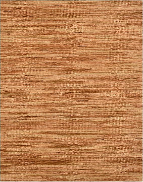York Reddish Brown on Tan Faux Grasscloth Textured Wallpaper RN1063