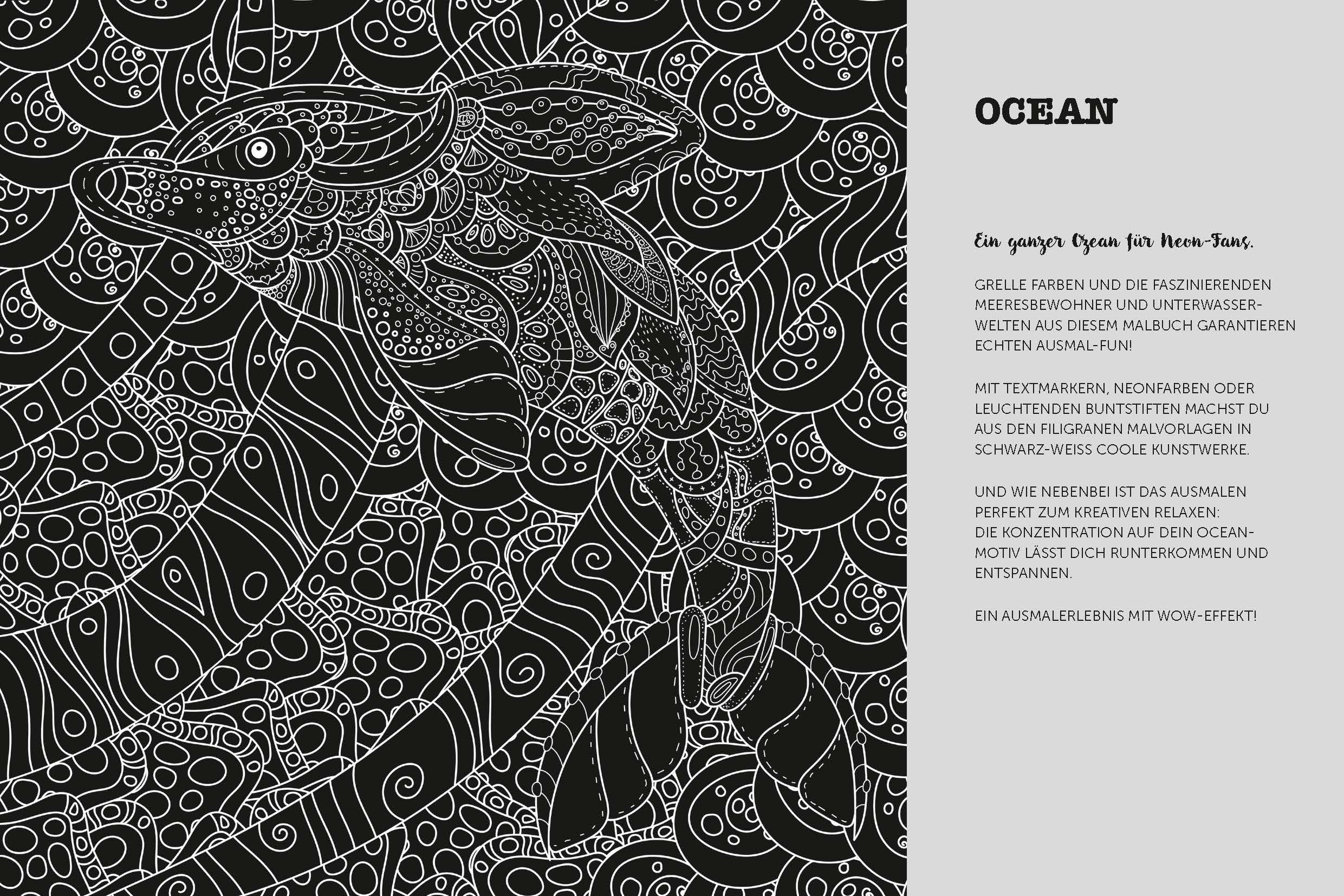 Ocean Neon-Ausmalbuch: Amazon.de: Bücher