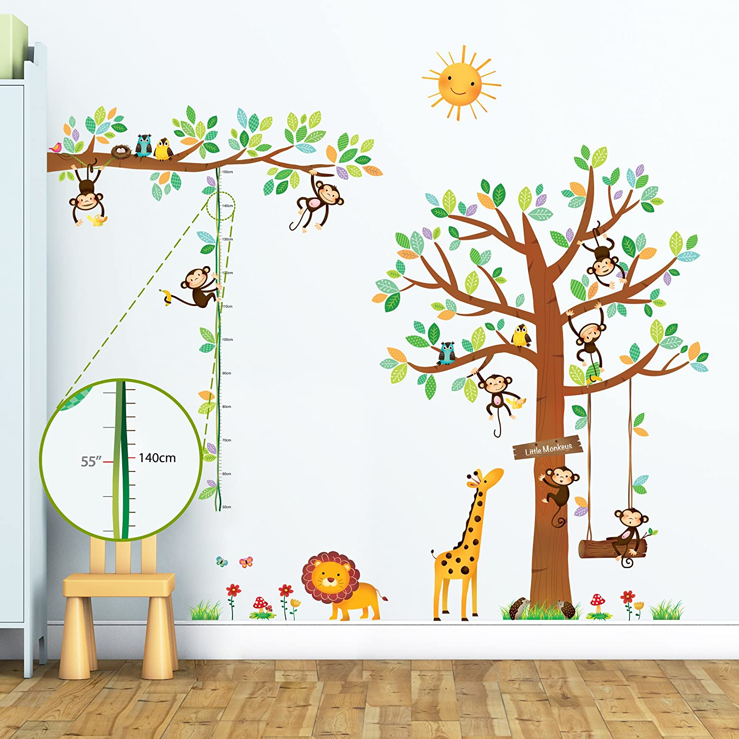 DECOWALL DA-1401P1402 8 Little Monkeys Tree and Height Chart Kids Wall Stickers Wall Decals Peel and Stick Removable Wall Stickers for Kids Nursery Bedroom Living Room décor