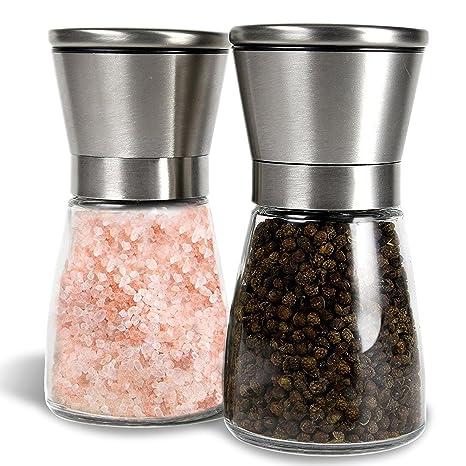 Amazon.com: Juego de salero y molinillo de pimienta en acero ...
