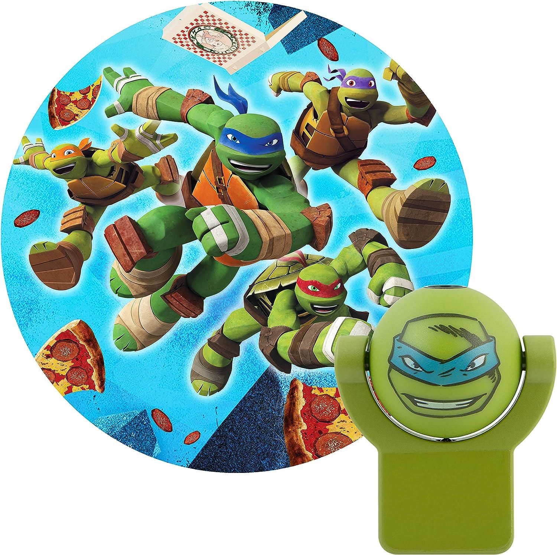 Projectables 10302 Teenage Mutant Ninja Turtles LED Plug-In Night Light, Green, Light Sensing, Auto On/Off, Projects Nickelodeon TMNT Leonardo Image ...
