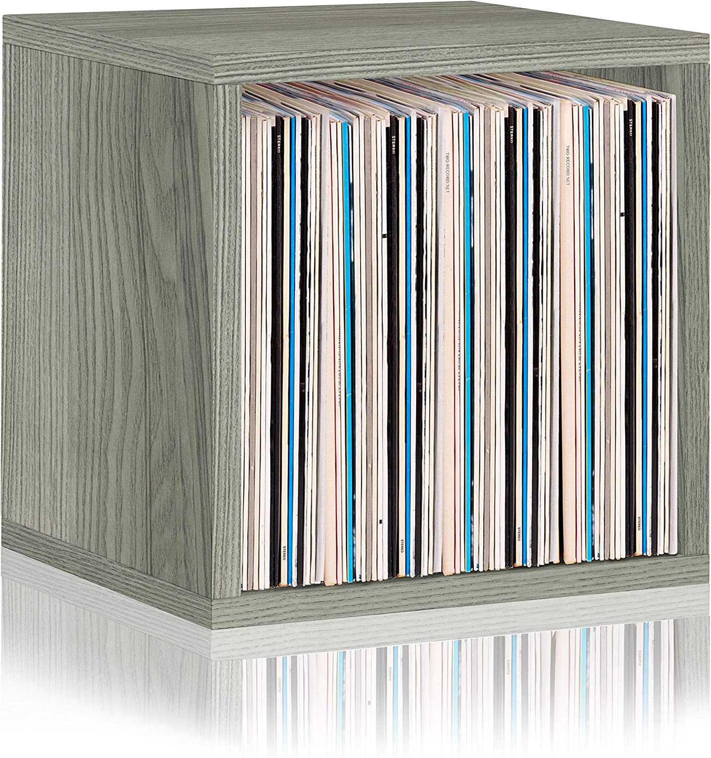 Way Basics 2-Shelf Vinyl Record Storage Cube and LP Record Album Storage Shelf Grey Tool-Free Assembly and Uniquely Crafted from Sustainable Non Toxic zBoard paperboard