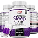 Natural Sleep Aid – Herbal Sleeping Pills with Melatonin, Valerian Root, Chamomile, Passionflower, GABA & More by USA SUPPLEMENTS | Non-Habit Forming | Includes Reusable Ear Plugs